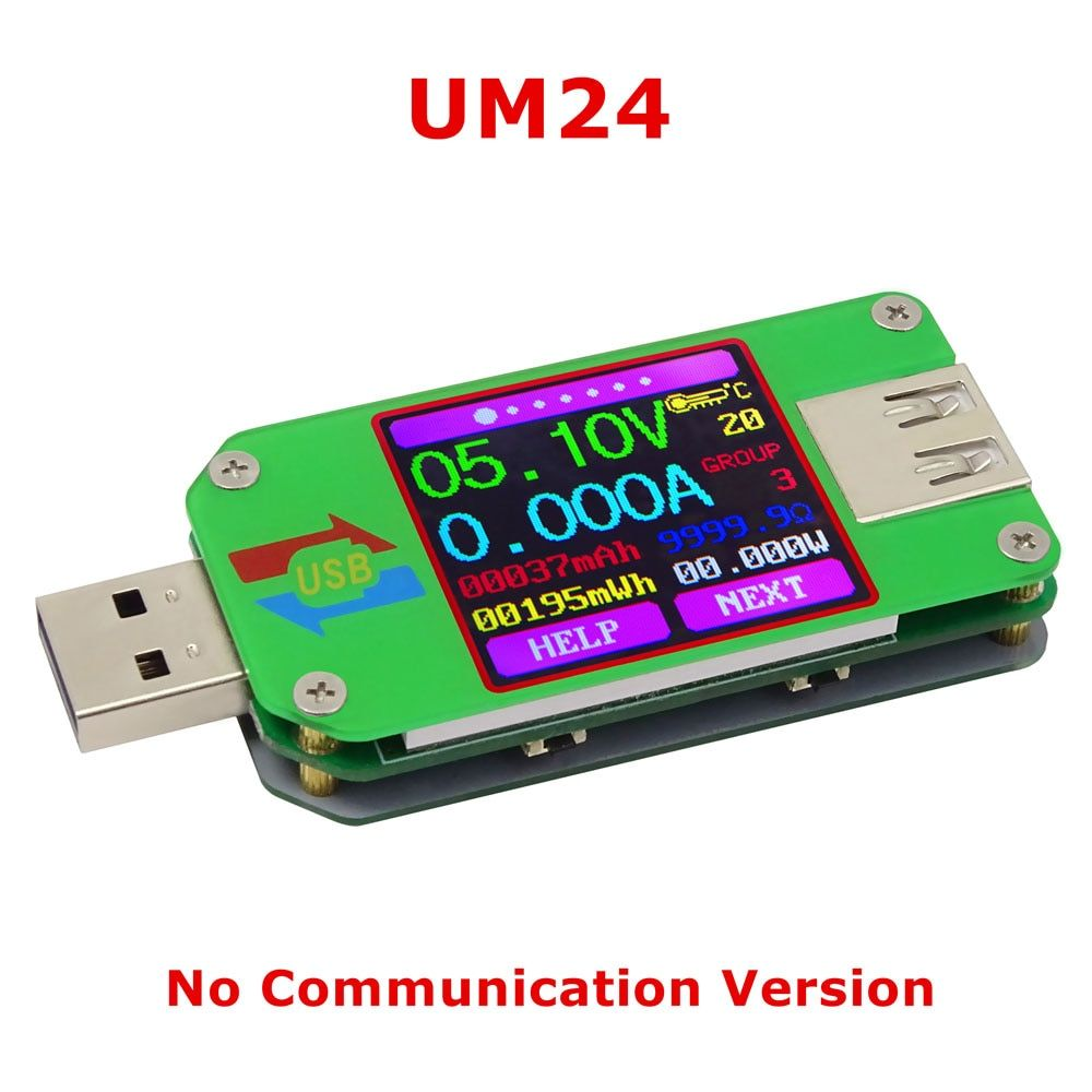 RD UM24C Color LCD Voltage Current Meter 2.0 USB tester Voltmeter Ammeter Battery Charge Cable Impedance Communication Version