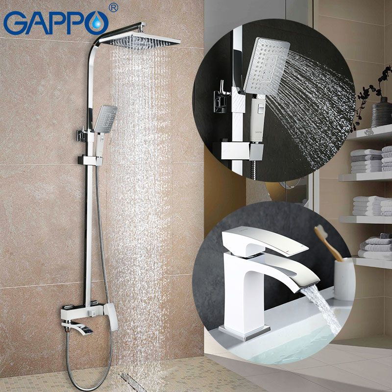 GAPPO white Basin Faucets water mixer tap basin sink faucet shower faucet bath tub taps rainfall shower set