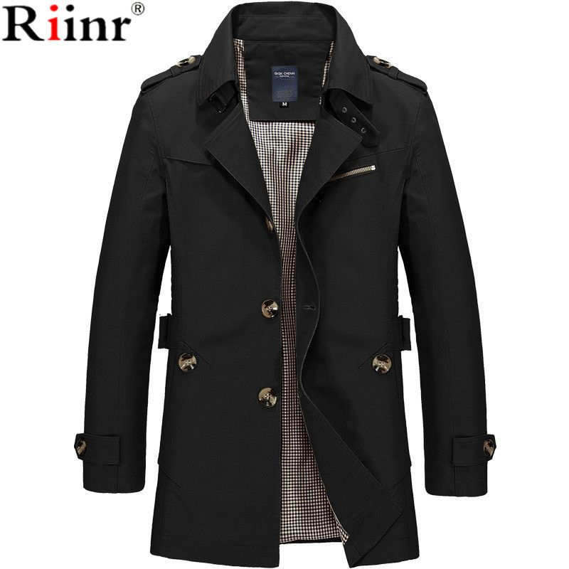Riinr 2019 Brand New Arrival Male Jacket Casual Jackets Coat Men Casual Fit Overcoat Jacket Outerwear  Coats Plus Size M- 5XL