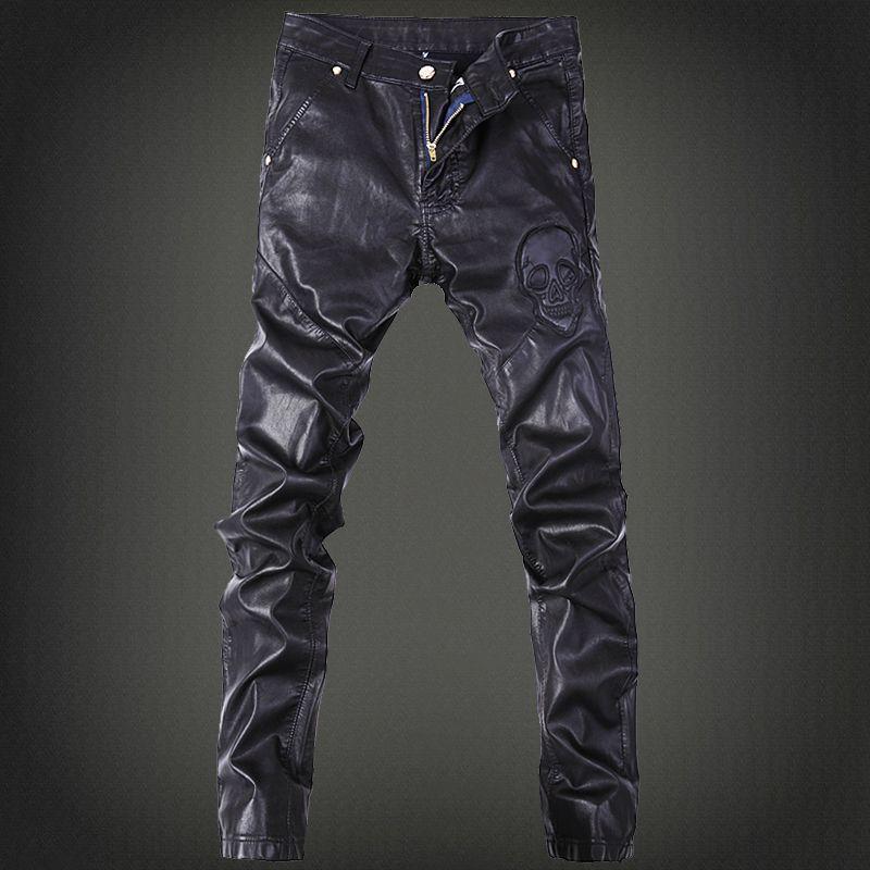 <font><b>2016</b></font> men's fashion pants, leather pants tide male nightclub Four Seasons can wear leather pants men wild long Feet pants