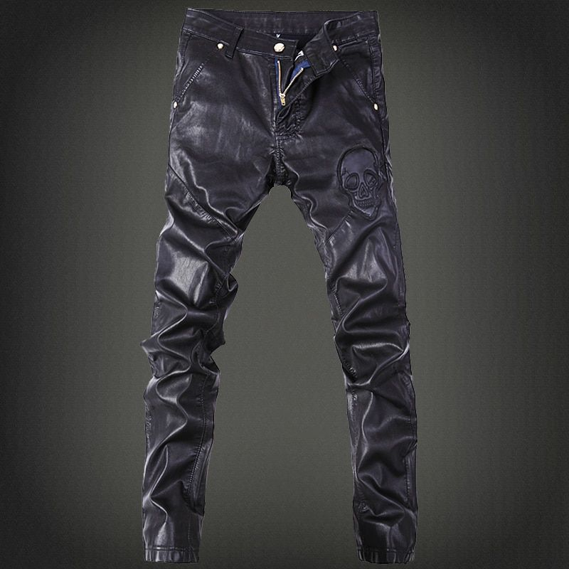 2016 men's fashion pants, leather pants tide male nightclub Four Seasons can wear leather pants men wild long Feet pants
