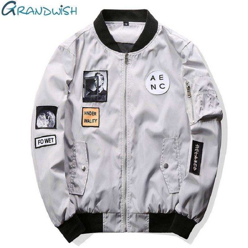 Grandwish Fashion Men Bomber Jacket Hip Hop Patch <font><b>Designs</b></font> Slim Fit Pilot Bomber Jacket Coat Men Jackets Plus Size 4XL,PA573
