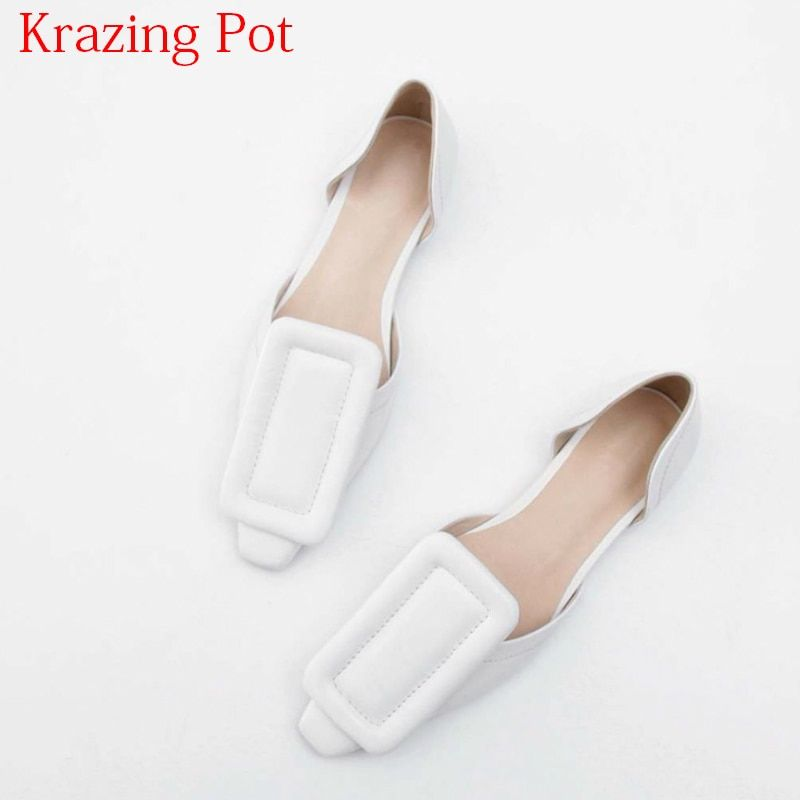 2018 Fashion Genuine Leather Summer Shoes Buckle Low Heels Shallow Women Pumps Square Toe Slip on Sweet Brand Vacation Shoes L77