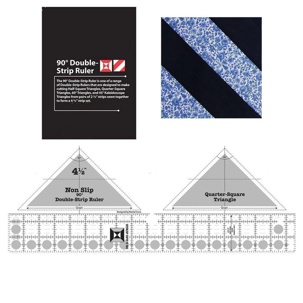 new ruler Non-slip 90 Degree Double Strip Quilt Ruler #MSW-02