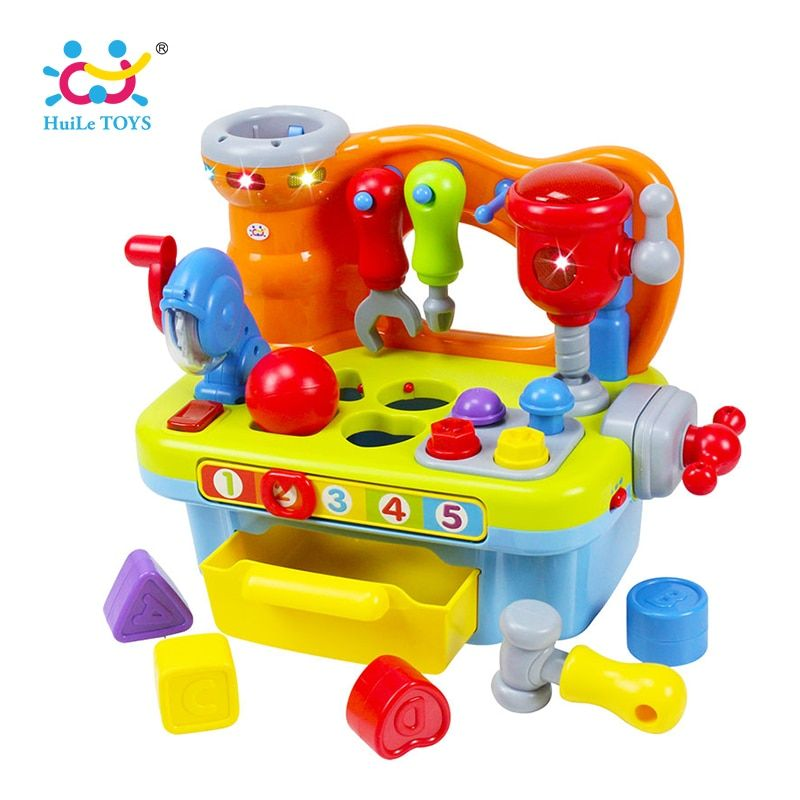 HUILE TOYS 907 Baby Toys Workshop Brinquedos Bebe Juguettes Infant Sounding Tools Kids Early Learning Games Toy Xmas Gifts