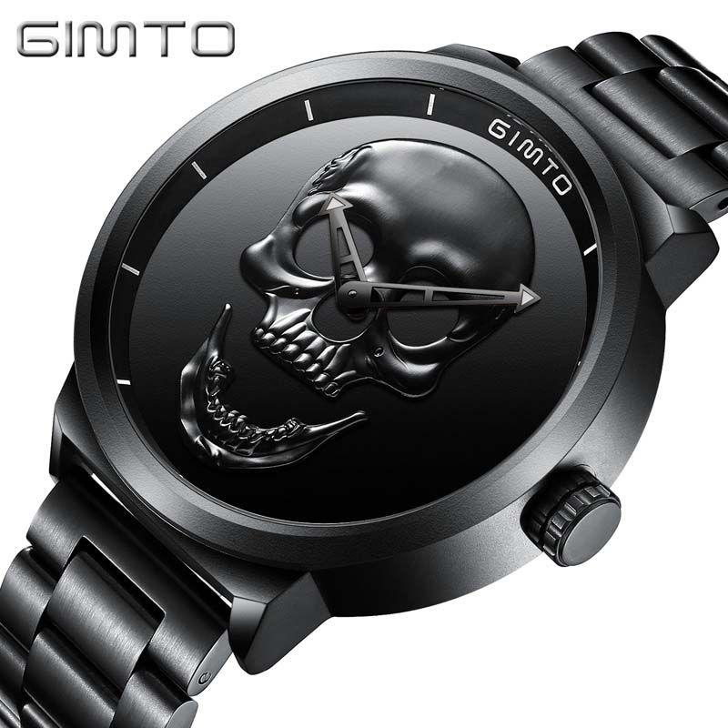 Skull Watches Male Unique Design Men Watch GIMTO Luxury Brand Sports Quartz Military Steel Wrist Watch Men relogio masculino