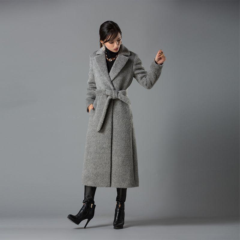 2018 Fashion Women Coat Long Alpaca Wool Blends Overcoat Womens Long sleeve Wool Coats High Quality Overcoat Fashion Trench Coat