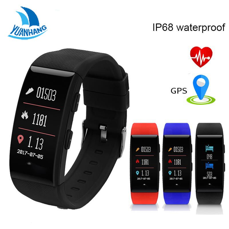 Yuanhang Smart GPS Sports Bracelet IP68 Waterproof Tracker Smart Fitness Band Heart Rate Blood Pressure Monitor Wristband Watch