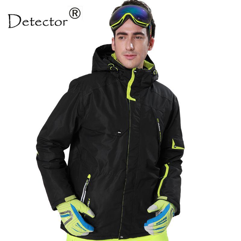 Detector Men's Black and <font><b>Blue</b></font> Hight Waterproof Mountain Hiking Camping Jacket Fleece Hight Windproof Ski Jacket