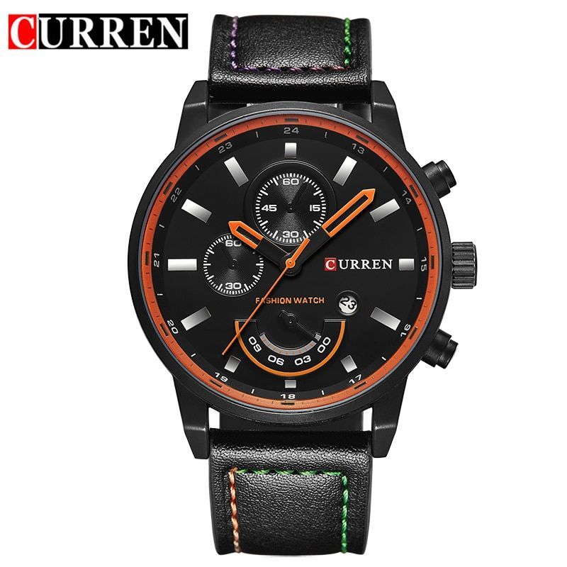 CURREN watch for men brand quartz-watch Men's Round Dial <font><b>Analog</b></font> Watch with Date Display 8217