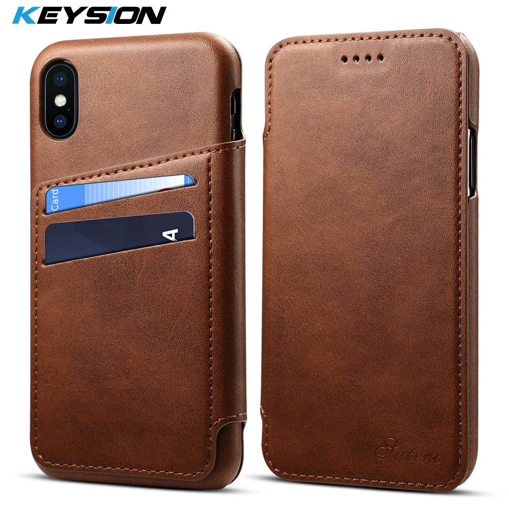 KEYSION Phone Flip Case For iPhone X 8 7 6 Plus Leather Luxury Wallet Case Card Slots Back Cover For iPhoneX 7 Plus 6s 8 8 Plus