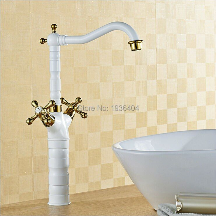 Wholesale Retro hot and cold taps Bathroom copper faucet basin faucet Dual Holder white paint mixer taps W3011