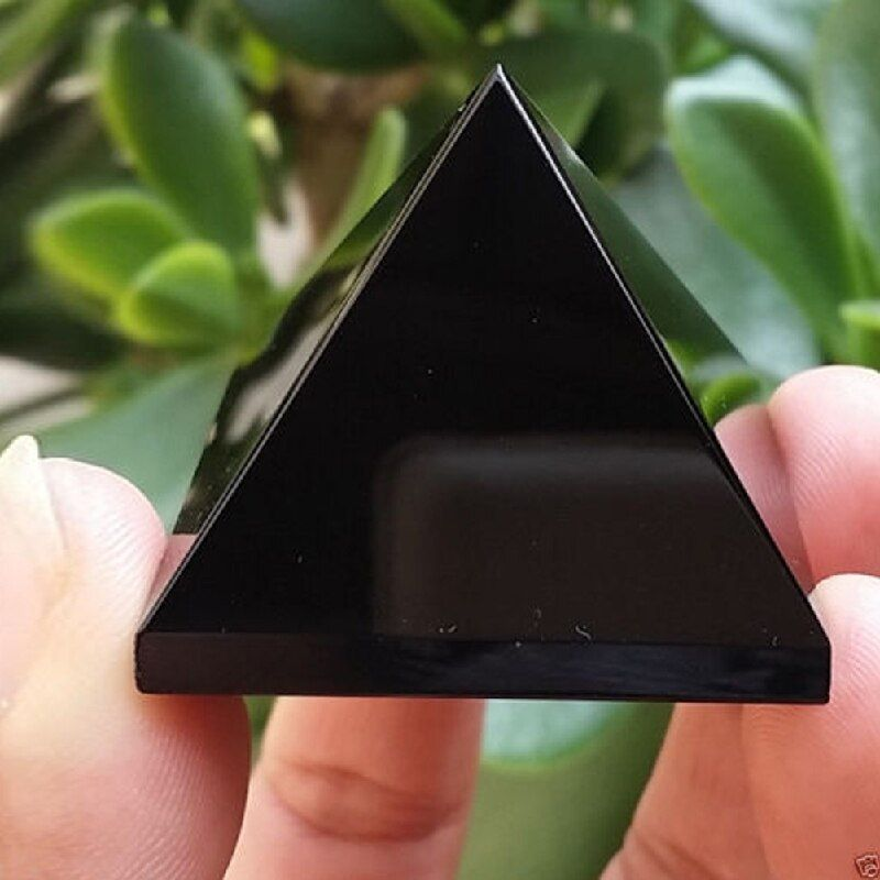 Pyramide Guérison Cristal Artisanat Noir Obsidienne Quartz Cadeau Décor À La Maison Belle et Brillant Surface Drop Shipping