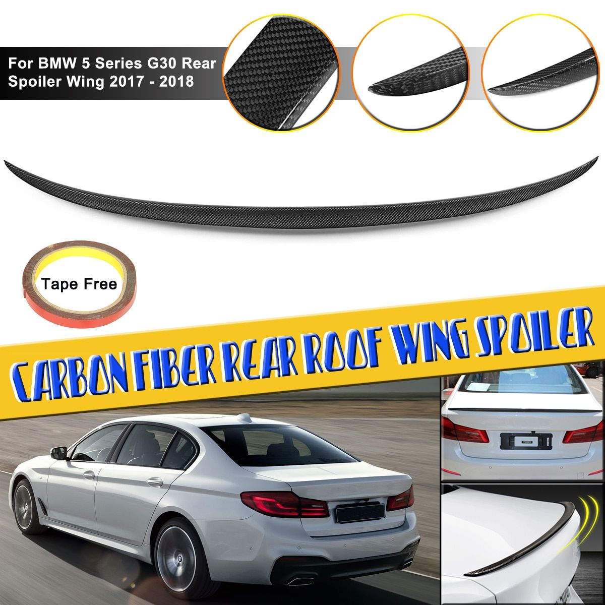 5 Series G30 Full Real Carbon Fiber Roof Wing Spoiler Fit For BMW 5 Series G30 Rear Spoiler Wing 2017 - present