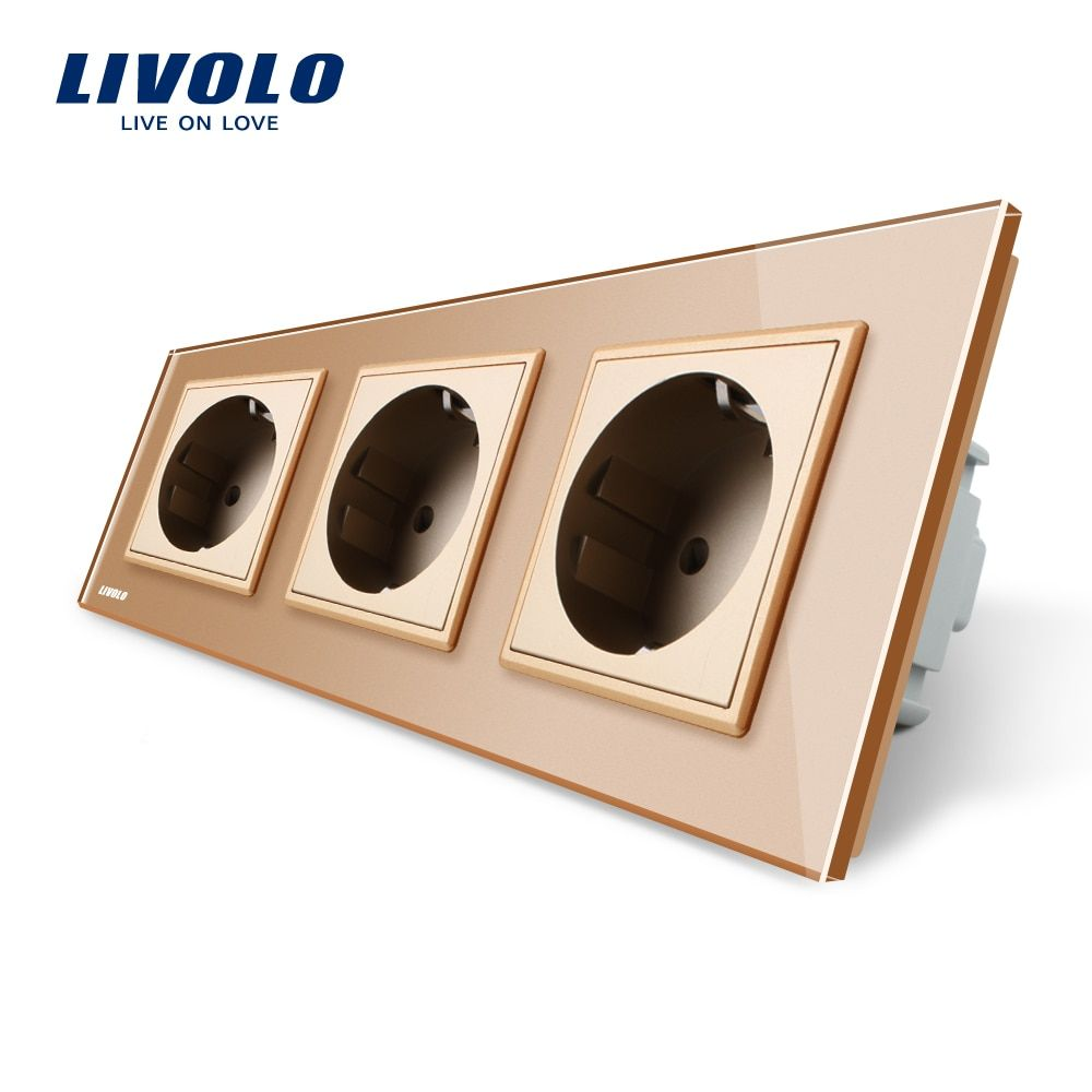 Livolo EU Standard Socket, Golden Crystal Toughened Glass Outlet Panel, Triple Wall Power Sockets Without Plug,VL-C7C3EU-13