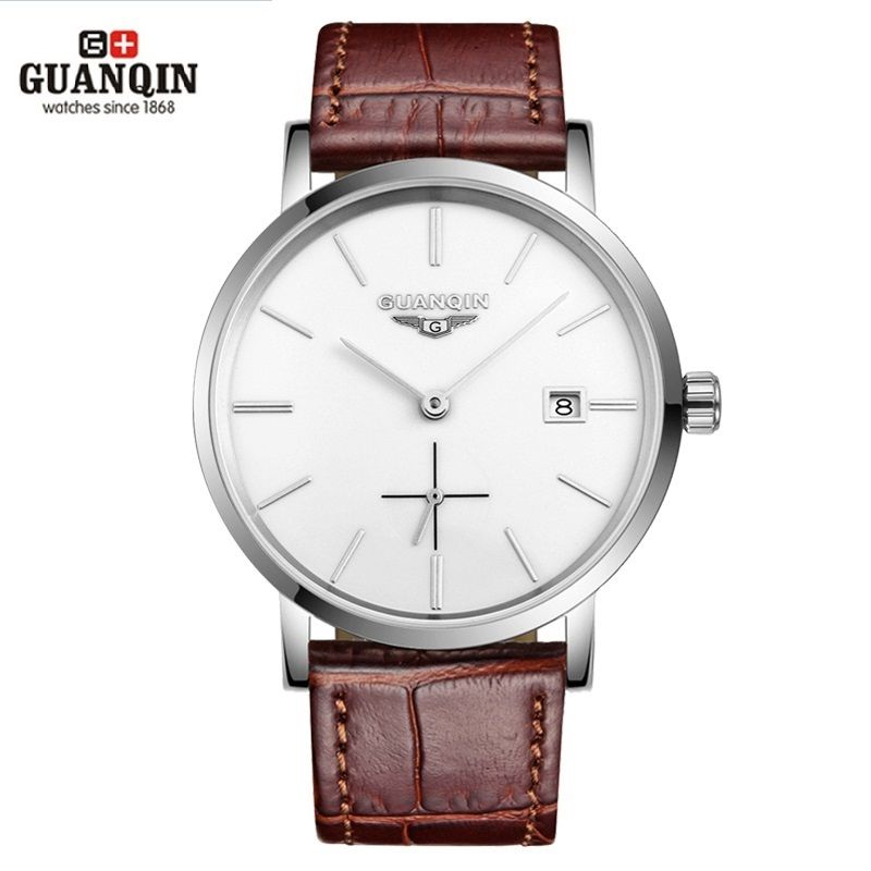 New GUANQIN Men Mechanical Watches 10mm Ultra Thin Leather Watches Luxury Brand Man Watch 30m Waterproof Calendar Wristwatches