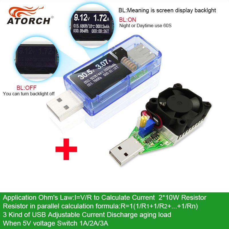 ATORCH USB testeur + DC charge Numérique voltmètre 15 W batterie externe Vieillissement chargeur indicateur de voiture tension current meter médecin détecteur
