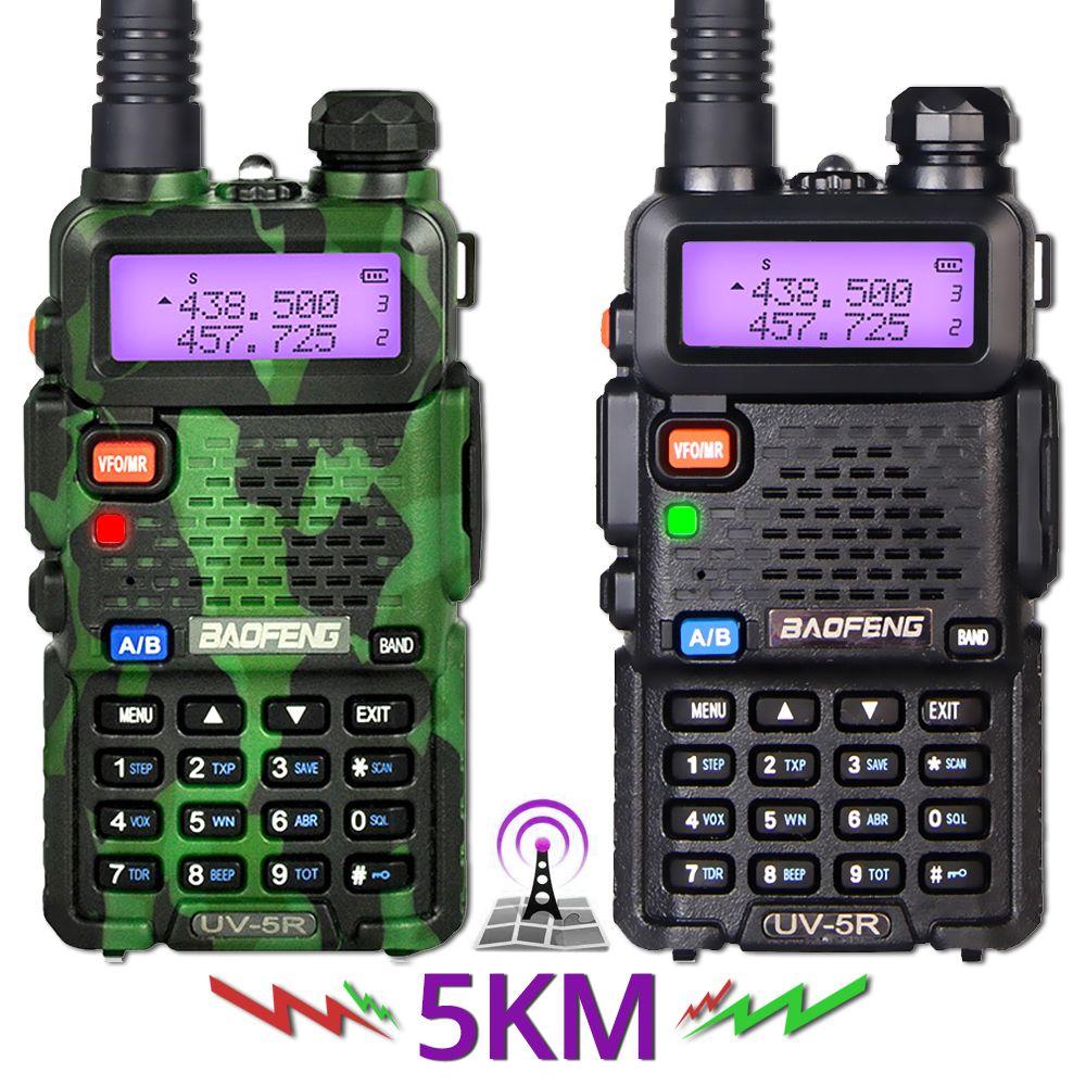2 pièces Baofeng UV-5R talkie-walkie UV5R CB Station de Radio 5W 128CH VHF UHF double bande UV 5R Radio bidirectionnelle pour la chasse aux Radios à jambon