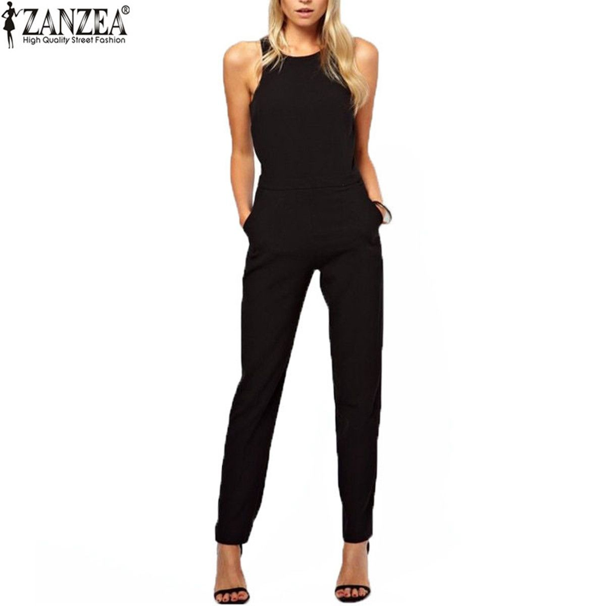 Zanzea <font><b>Brand</b></font> 2018 Summer Elegant Womens Rompers Jumpsuit Casual Solid Bodysuit Sleeveless Crew Neck Long Playsuits Plus Size