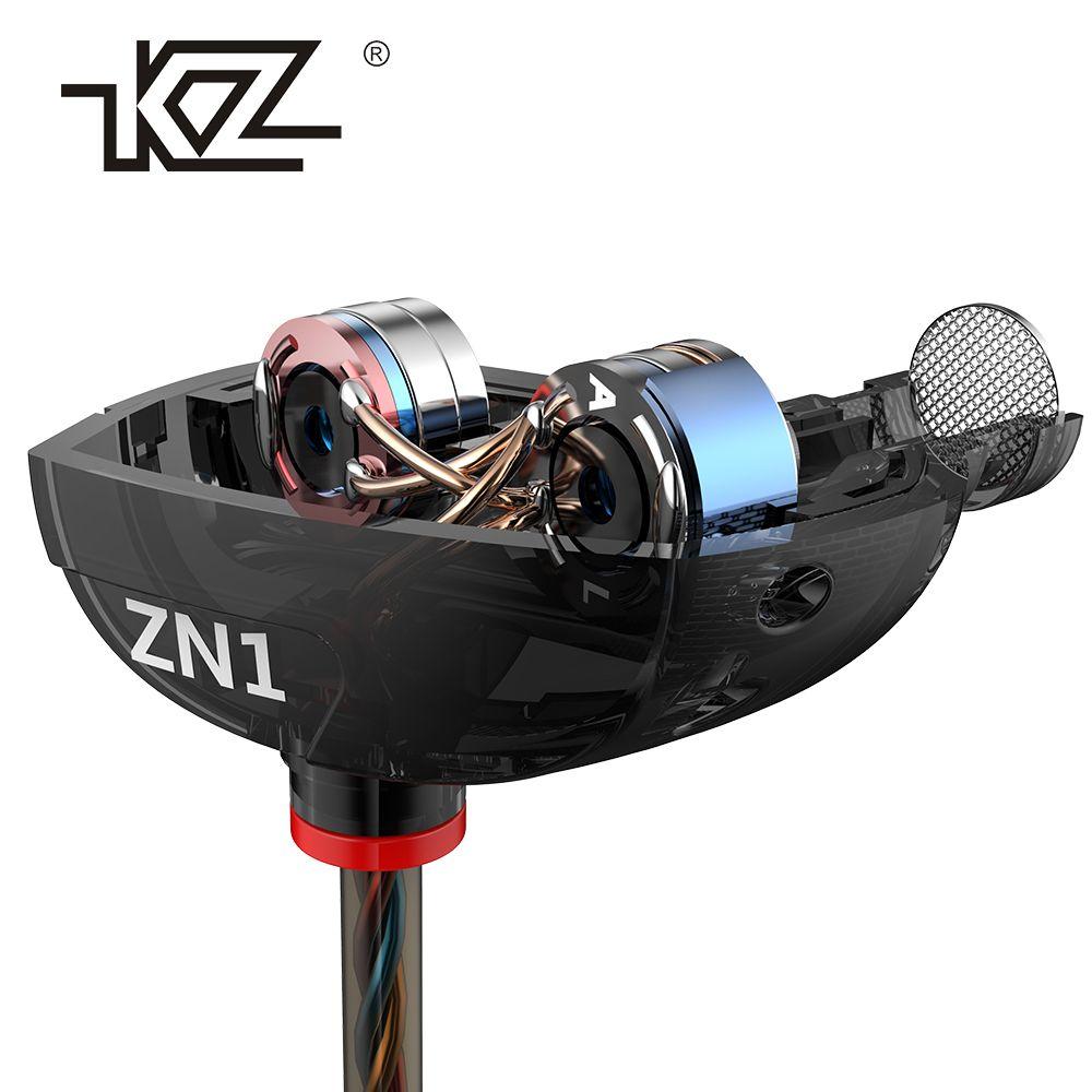KZ ZN1 D'origine Écouteur Mini Double Pilote Écouteurs Extra Bass Turbo Large Champ Sonore In-Ear Écouteurs fone de ouvido auriculares