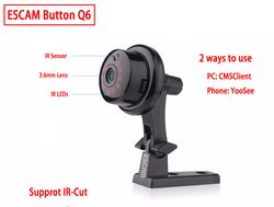 ESCAM Q6 1.0MP 720 P Кнопка мини-беспроводная камера Wifi двухсторонняя голосовая домашняя IR-CUT ночного видения CCTV Домашняя безопасность ip-камера Wi-Fi