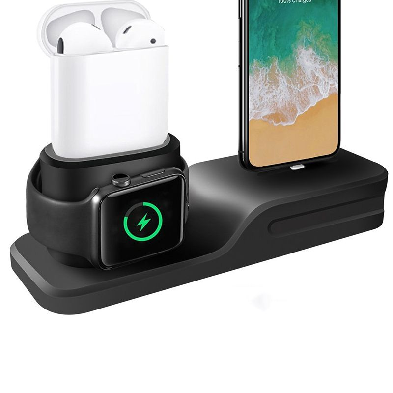 3 in 1 Charging Dock Holder For Iphone X Iphone 8 Iphone7 Iphone 6 Silicone charging stand Dock Station For Apple watch Airpods