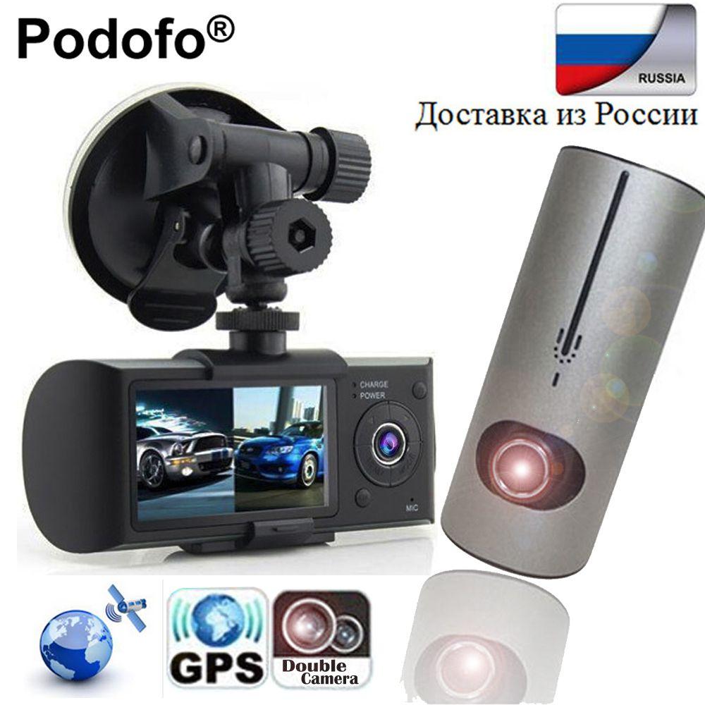 Podofo Dash Camera 2.7'' Dual Camera Car DVR Video Recorder With GPS Registrator Car Recorde X3000 R300 Car DVRs Digital Zoom