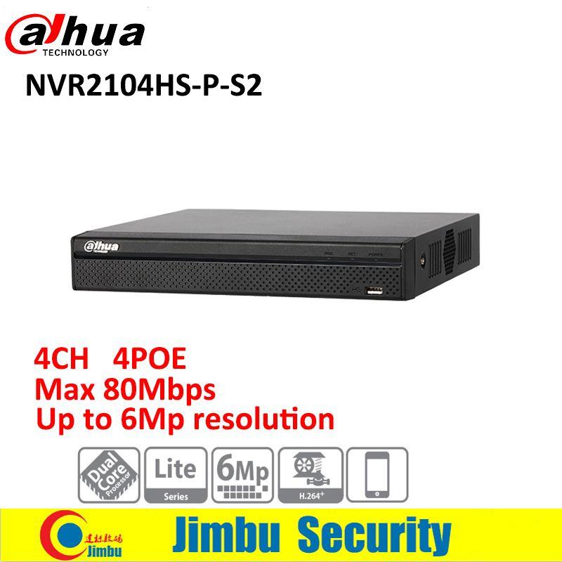 Original Dahua NVR 4ch NVR2104HS-P-S2 P2P Compact 1U 4PoE Lite H.264+/H.264 Up to 6Mp Network Video Recorder
