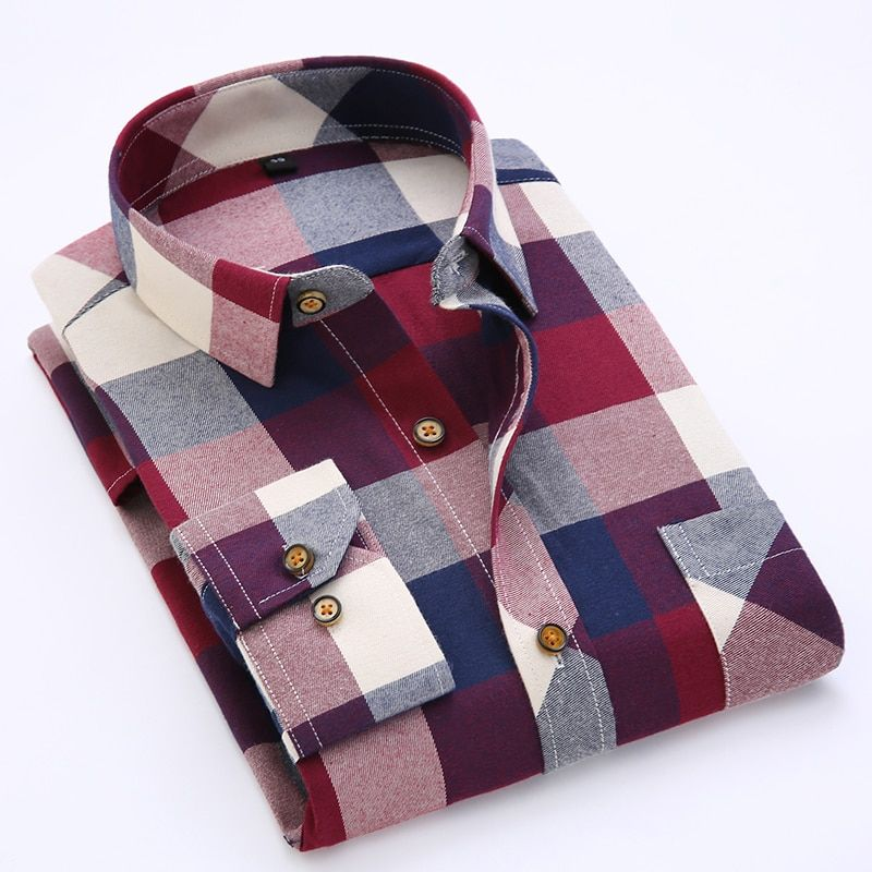 Men's Long Sleeve Contrast Bold Plaid Brushed Shirt with Left Chest Pocket Slim-fit Comfortable Soft Work Casual Flannel Shirts