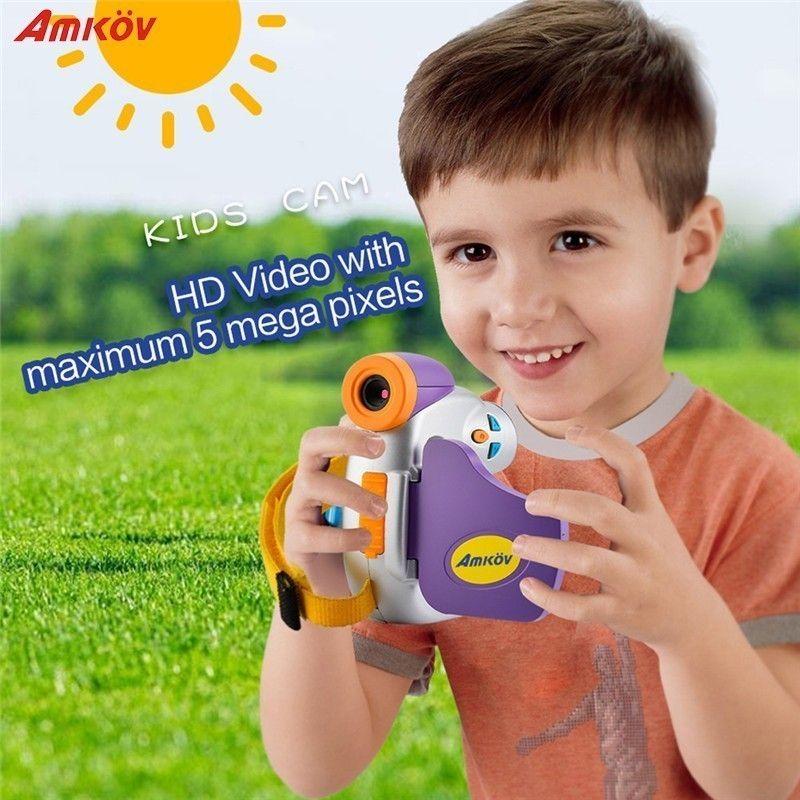 AMKOV 1.5Inch Color Screen Mini Creativity Kids Camera 5 Megapixel High-definition Children Funny Camera Support Network Camera