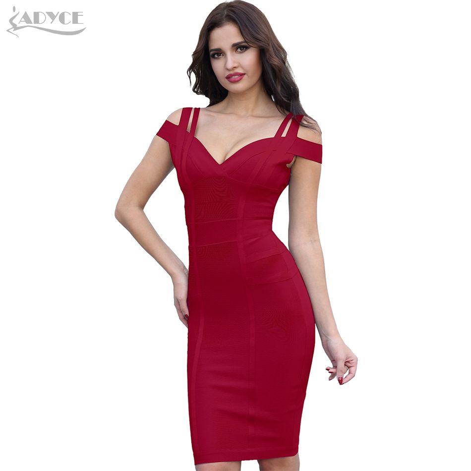 ADYCE Bandage Dress Women Vestidos Verano 2018 Sexy V Neck Off <font><b>Shoulder</b></font> Celebrity Party Dress Sexy Club Bodycon Dresses Vestidos