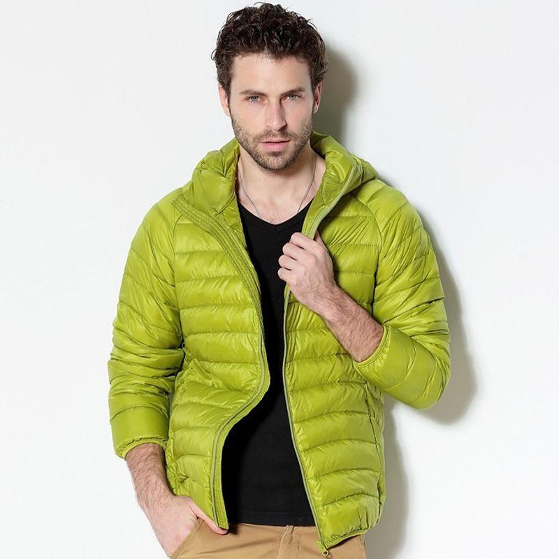 2017 New Men White Duck Down Jacket Portable Hooded Down Coat Ultralight Men Winter Coat Warm Thermal Down Parkas Plus Size