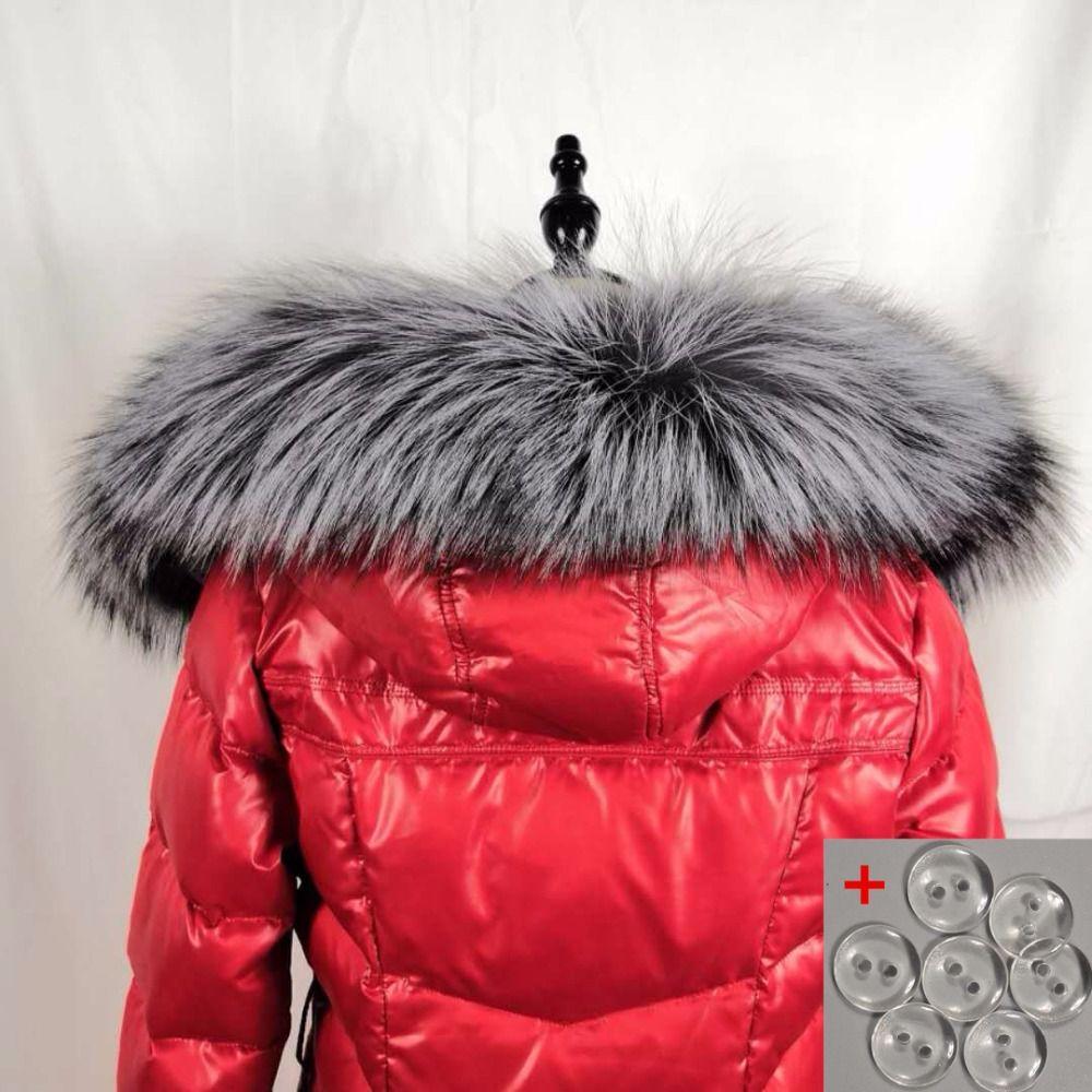 Neue 100% Natürliche Pelz Kragen Luxus Silber Fuchs Pelz Kragen Ring Schal 90 cm Frauen Echten Fuchs Pelz Kragen für unten Jacke Großhandel