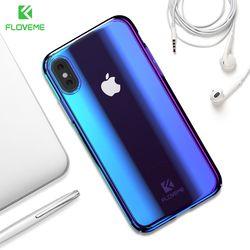 Floveme Blue Ray Cahaya Kasus untuk iPhone X Iphone X Max Mewah Keras PC Phone Case untuk iPhone XR 8 7 Plus 5 S 5 Se Cover Capa Shell