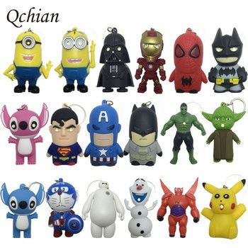 Star Wars Key Chains Batman keychain Iron Man Key Holder Hulk Big Hero 6 Batman Olaf Pikachu Keyrings Spiderman Lighting Sounds