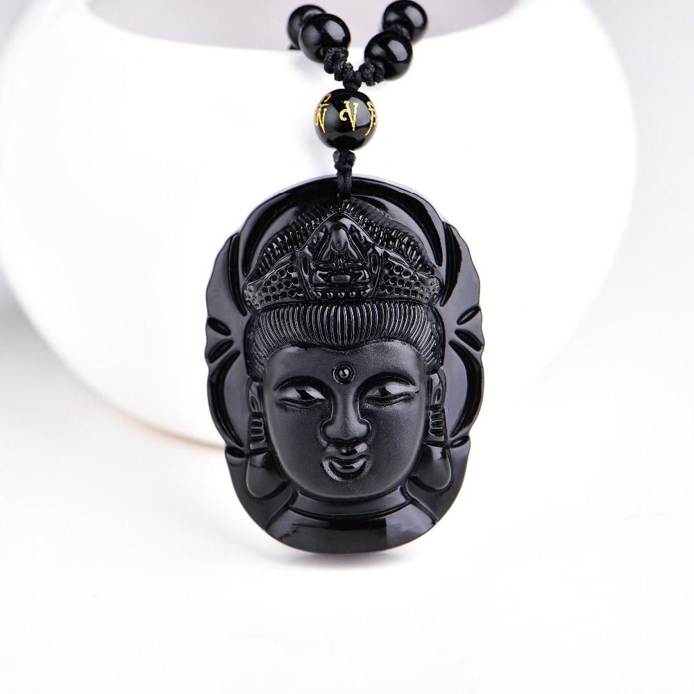 Rideau de perles obsidienne naturelle gommage transbordé tête de bouddha pendentif noir