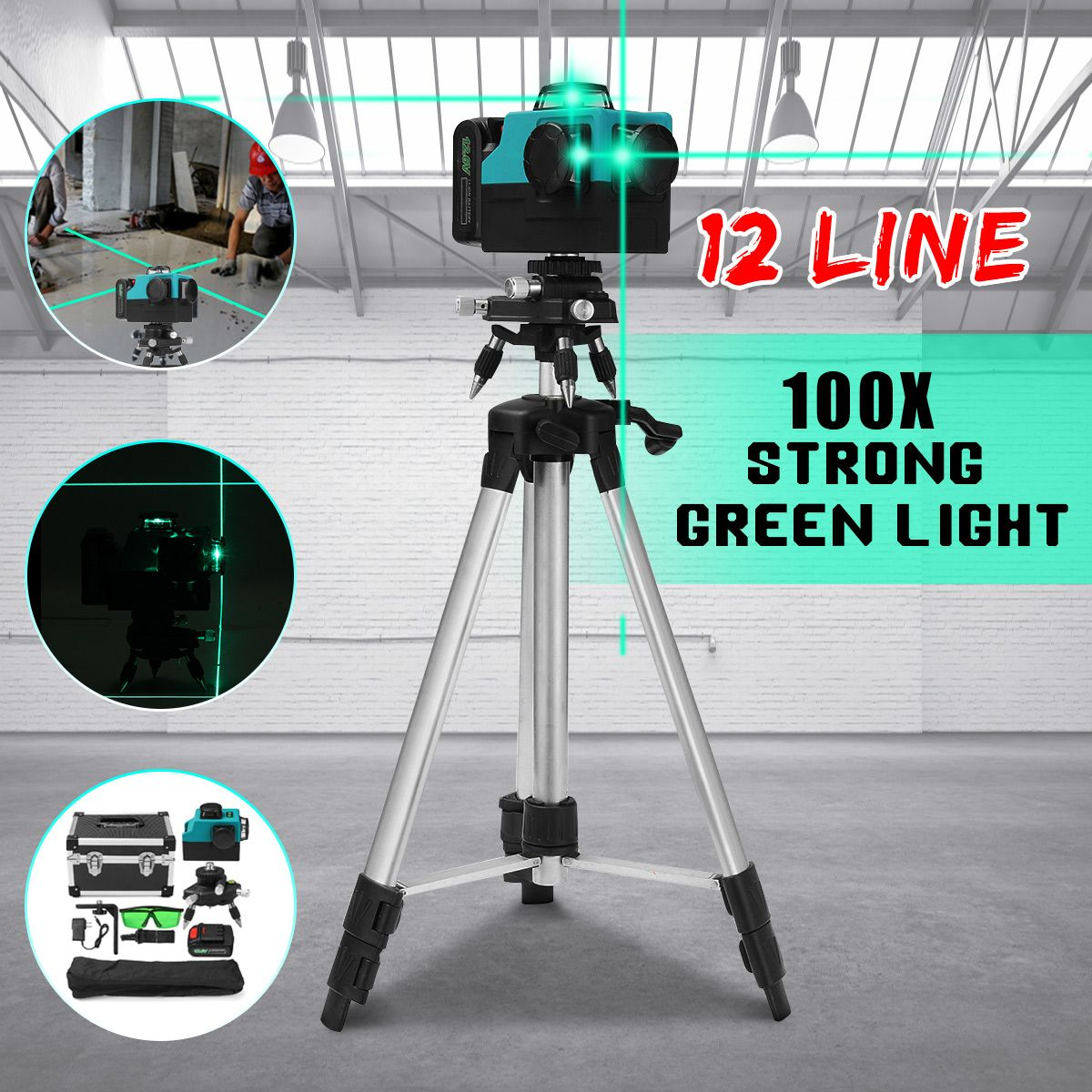 12 Line 100xStrong Green Light 3D Laser Level Measure 360 Vertical Horizontal Self-leveling Cross Laser Beam Line w/Tripod Stand