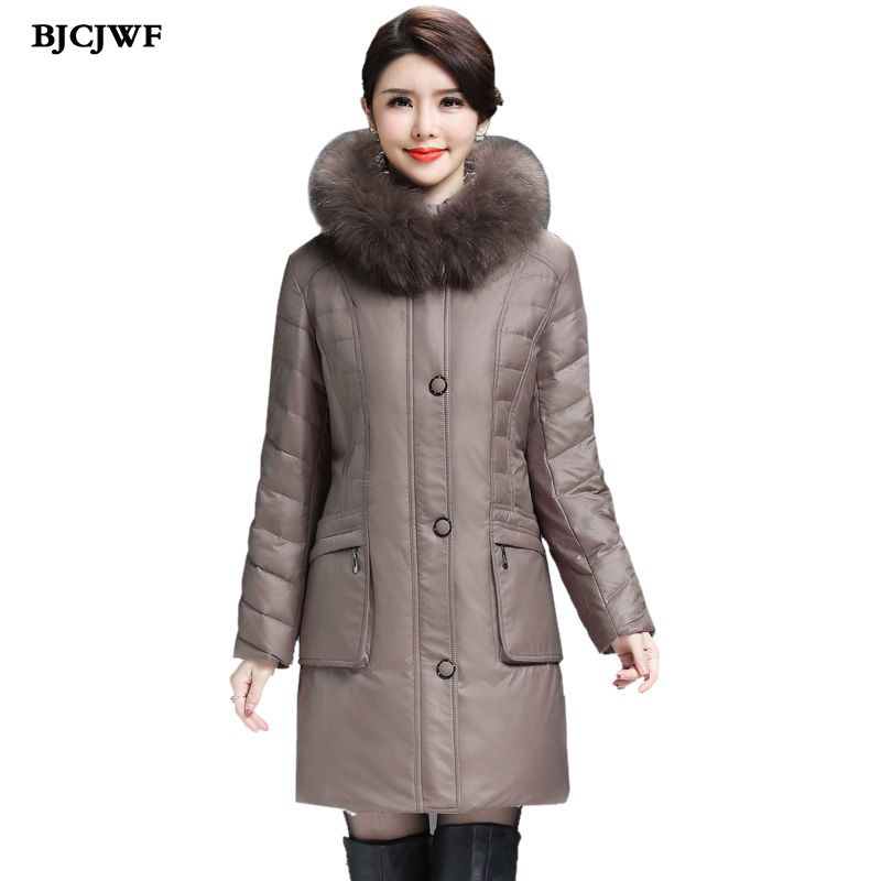 Womens down coats Long down parkas winter jacket woman 2017 Raccoon fur Hooded Oversized 6XL Duck down coat manteau femme hiver