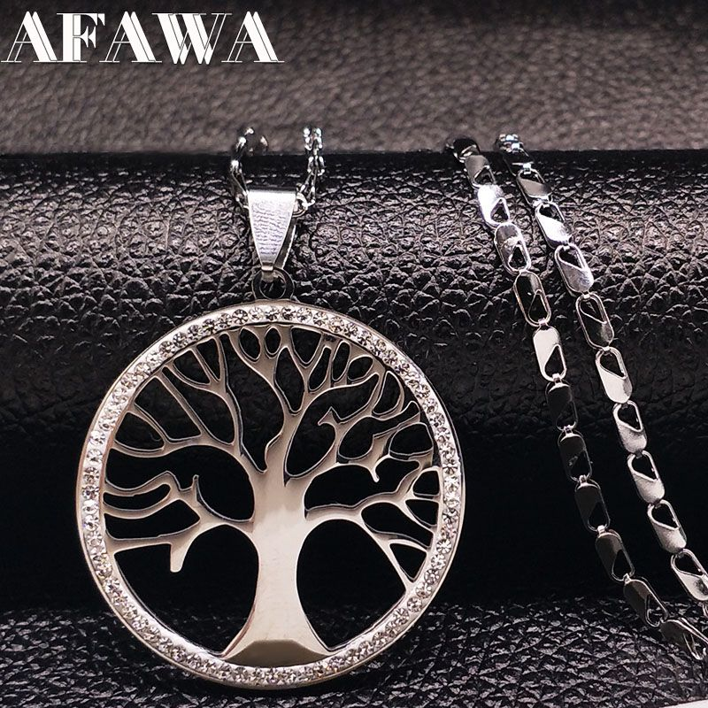 2018 Árbol de La Vida de Acero Inoxidable Cristal de La Manera Collares Árbol Bohemia Gargantilla Collar de La Joyería Para Mujer collane donna N3309