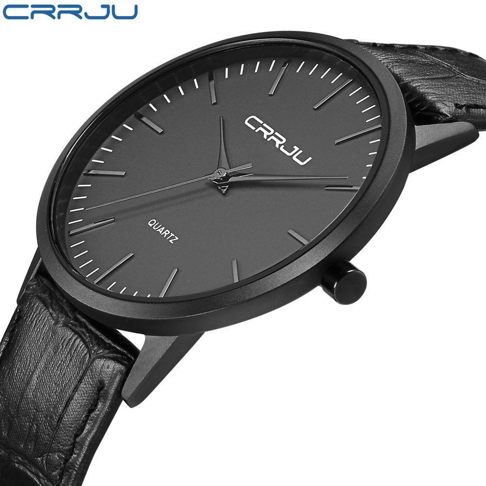 Men's Fashion Wrist Watch Black Quartz Wrist Watch Ultra Thin Case with Minimalist Analog Display Leather Strap Sport Watch Men