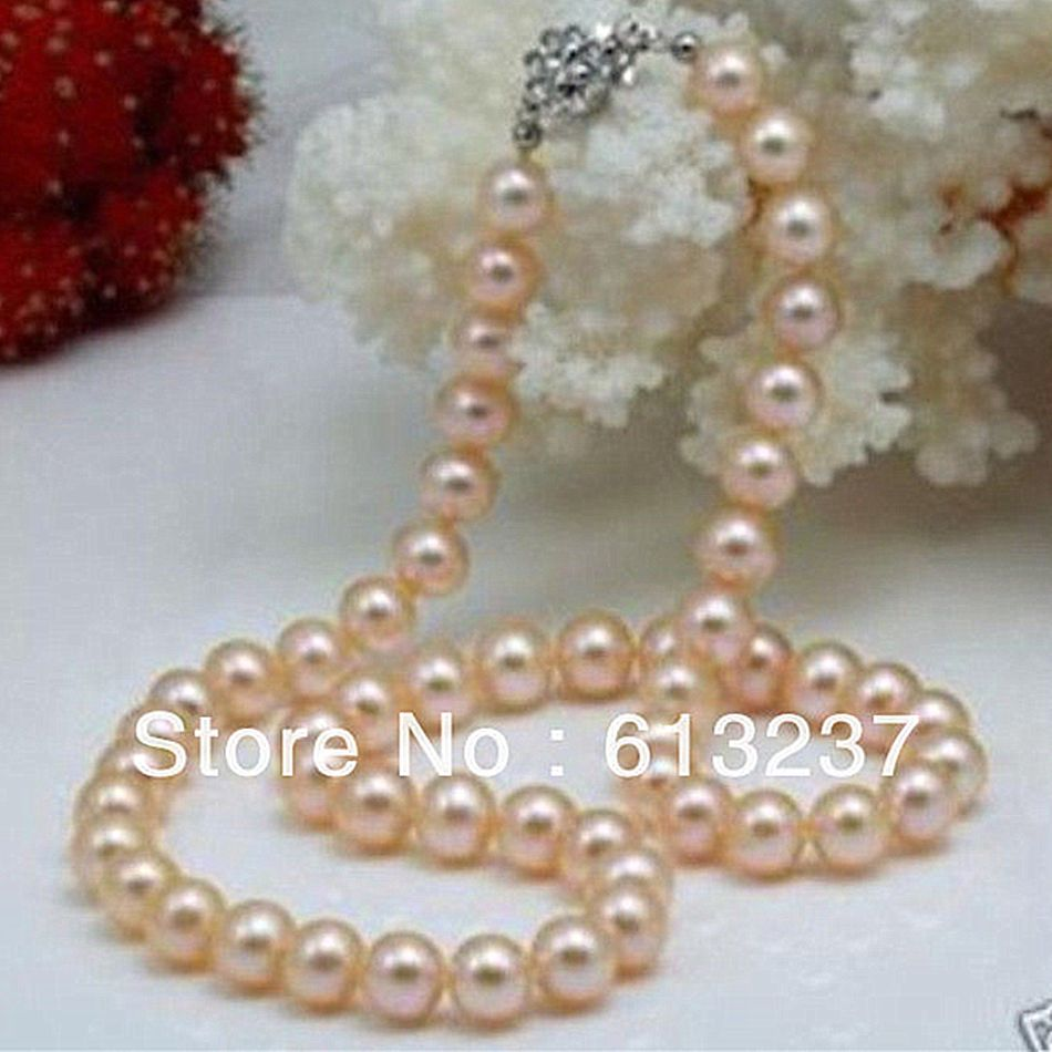 Beautiful 8-9mm natural pink akoya natural pearl beads diy classical necklace making 18 inch MY4554