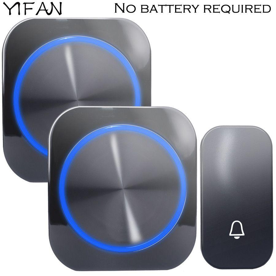 YIFAN auto-alimenté sans fil sonnette pas de batterie étanche 150 M à distance EU Plug maison porte cloche carillon anneau 1 2 bouton 1 2 récepteur