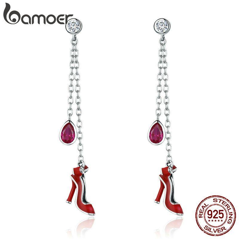 BAMOER Hohe Qualität 100% 925 Sterling Silber Sexy Roten High Heels Lange Tropfen Ohrringe für Frauen Sterling Silber Schmuck SCE406