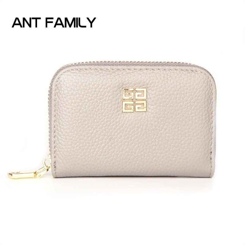 Genuine Leather Women Card Holder Wallets Small Female Mini Wallet Credit Card Holder Zipper Card Holder Purse ID Holder Bags
