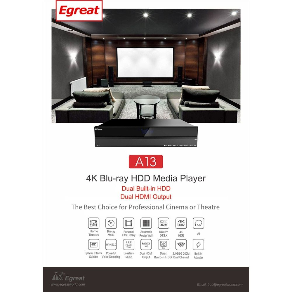 Hohe-ende Egreat A13 4 K Ultra HD Smart Media Player BT4.0 2,4G/5G WiFi mit 2x3,5 zoll HDD Tray Dolby Atmos/DTS: X Android TV Box