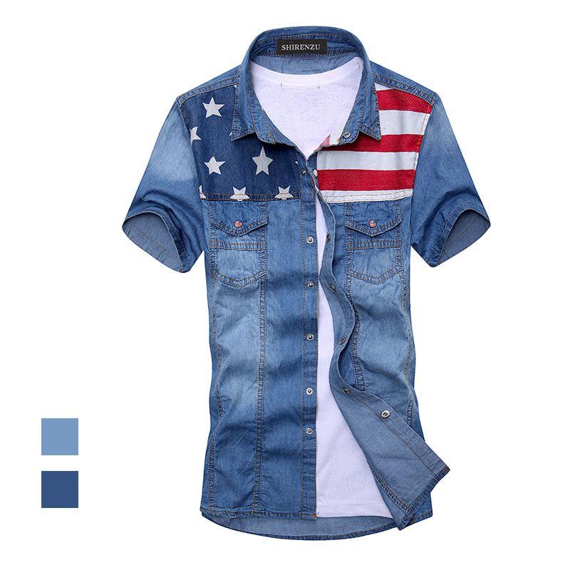 2018 nouveau vintage hommes mode drapeau américain denim chemise à manches courtes bleu clair jeans chemise livraison gratuite Top qualité