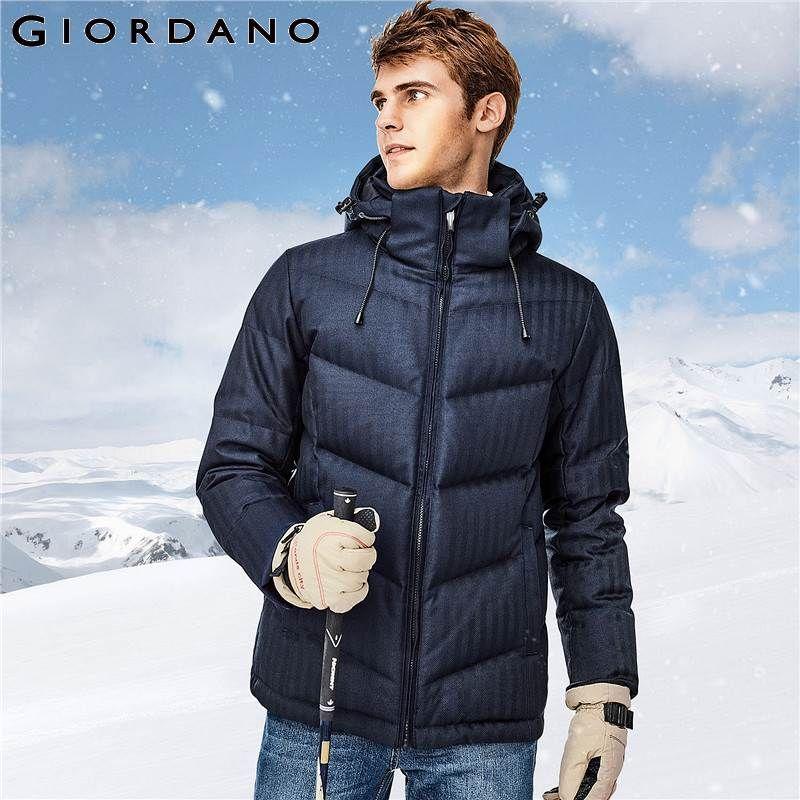 Giordano Männer Unten Jacke Männer 90% Qualität Grau Ente Unten Abnehmbare Kapuze Unten Jacke Gut Nähte Durable Chaqueta