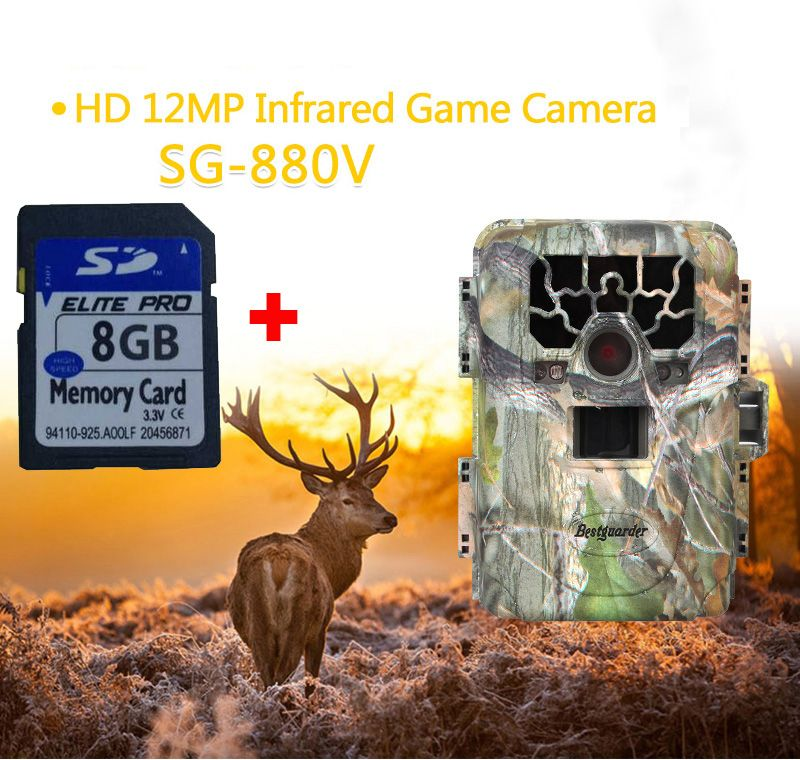 Bestguarder SG-880V Trail Camera No Glow 12MP Mini Infrared Digital Wildlife Hunting Camera Outdoor DVR Photo Trap 8GB SD Card