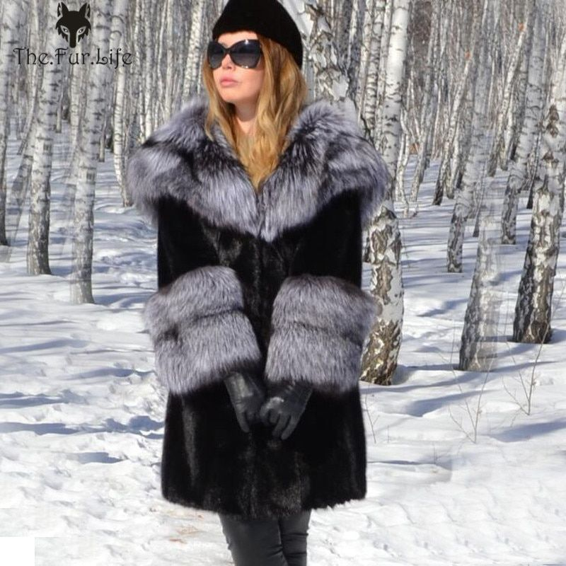 New Style Real Mink Fur Coat With Hood Silver Fox Fur Hood Collar Natural Fur Jackets Fox Sleeved Warm Winter For Women