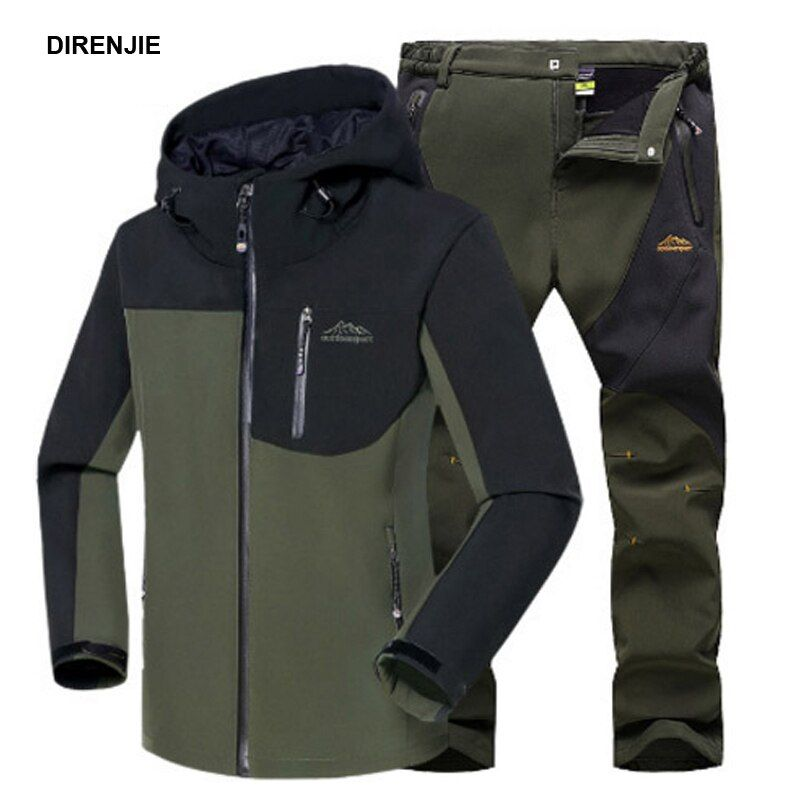 Men Winter Waterproof Fish Climb Camp Ski Trekking Hiking Fleece SoftShell Outdoor Jackets <font><b>Pants</b></font> Set Hood Trousers 5XL Oversized
